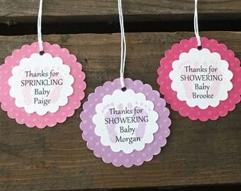 Set of 12 Personalized Thanks For Sprinkling or Showering Baby Feet Tags  - Sprinkle Baby Shower - Baby Shower Favor Tag