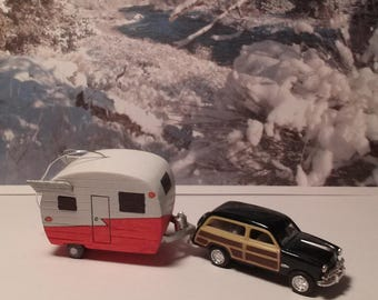 Shasta style camper ornament for tree or rear view mirror