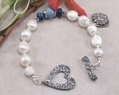 Handmade White Freshwater Pearl, Sodalite, Blue Quartz Sterling Silver Bracelet w/ PMC Toggle & Charm