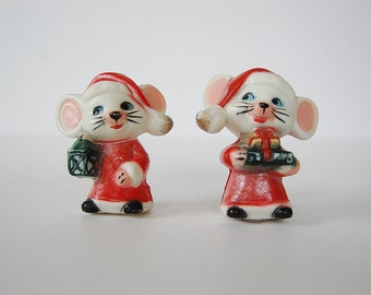 Mice Salt and Pepper Shakers, Christmas Mice, Plastic Glittery Mice, Christmas Decor
