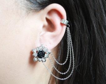Black Rose Crystal Ear Cuff Earrings (Pair)