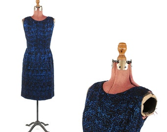 Vintage 1960's Black Crepe + Metallic Blue Tinsel Tiered Skirt Evening Cocktail Holiday Party Dress L
