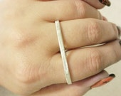Sterling Silver Two Finger Ring - Choose Custom Sizes - Choose Hammered, Brushed, or Shiny Finish