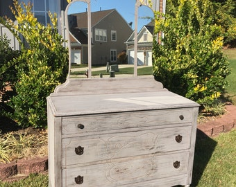 SOLD ** Vintage Chic Grey Dresser with Mirror / Changing Table