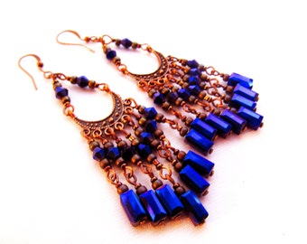"Chandelier Earrings - orchid purple crysatals, antique copper gypsy dangle earrings - 3"" (7 cm) long"