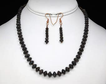 """Dinosaur Bone Necklace and Earring Set in Copper, 17"""""""
