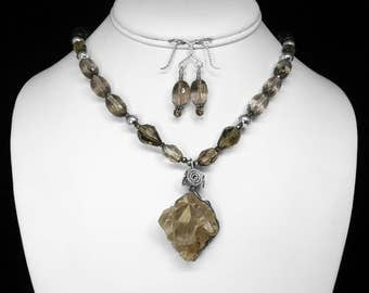 Montana Crystal and Smoky Quartz Necklace and Earring Set in Silver, 21""