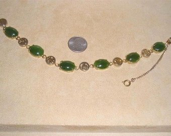 Vintage Real Spinach Jade Cabochon Bracelet With Gold Tone Accents 1960's Jewelry 10015