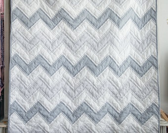 Grey Gray and White Chevron Hand Quilted Baby Blanket Modern Quilt