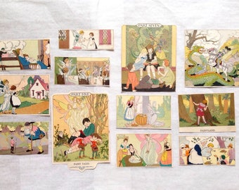 Antique Basic Readers Color Picture Clippings Fairies, Elves, Dragons and Giants 12 Pieces