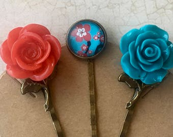 Bobby Pins, Hair Accessories, Flower Bobby Pins, Hair Pins, Flower Hair Pins, Rose Bobby Pin