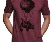 ON SALE Turtle On A Hot Air Balloon T Shirt - American Apparel Tshirt - S M L Xl Xxl (Color Options)