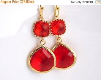 SALE Red Earrings, Gold Red Jewelry, Garnet, Glass, Wedding Jewelry, Bridesmaid Earrings, Bridal Jewelry, Bridesmaid Gifts, Gift, Valentines