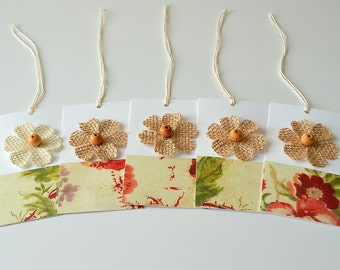 Flower Gift Tags - Wrapping - enclosure cards - Set of 5