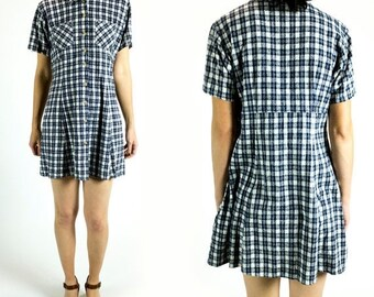 HOLIDAY SALE Vintage 1990s Navy Blue White Gingham Short Sleeve Pleated Nubby Brushed Silk Mini Shirt Dress Size XS Extra Small S Small