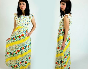 SPRING SALE Vintage 1970s Lanz Gauze Floral Print Ruffle Shoulder Sleeveless Tie Waist Maxi Dress Size XS Extra Small