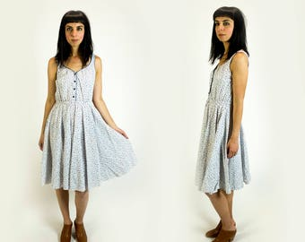 Vintage 1970s White and Blue Tiny Cherry Print Sleeveless Cinched Waist Knee Length Summer Dress Fits Like Size XS Extra Small // S Small