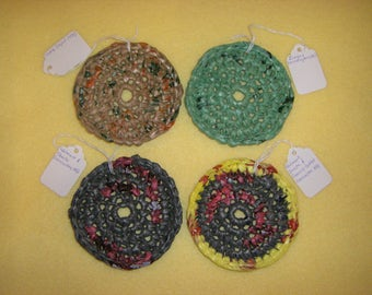 Two Plarn Soap Savers, recycled plastic bags, upcycled soap dish liners - tan and green or gray grey and yellow