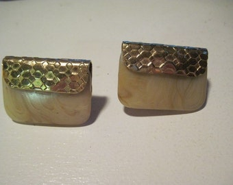 Vintage NAPIER Gold Tone Clip On Non Pierced Earrings Designer Signed