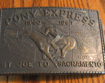 Vintage PONY EXPRESS Belt Buckle Big 3 1/2 by 2 1/2""
