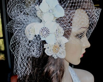 Diamonds, Silver and Gold Custom Bridal Fascinator with Birdcage Veil