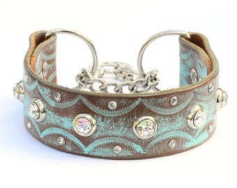 """Martingale Leather Dog Collar, Leather Chain Collar. Turquoise Leather Collar, Training Collar, Made in USA. Size 13 to 23"""" small to xxl"""