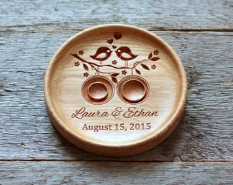 Personalized Wedding Ring Bearer Wedding ring pillow alternative Wedding ring plate dish holder Wedding plaque Anniversary gift Love Birds