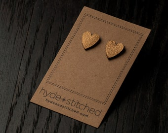 Gold Love: heart shaped leather earrings, pair of leather heart stud earrings, handmade leather jewelry