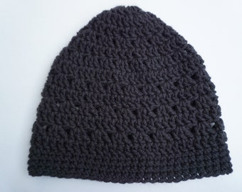 Black Crochet Beanie Medium Weight Beanie Black Lacy Crocheted Hat Womens Beanie Teen Girls Beanie Hat Womens Hat (HAT103Black)