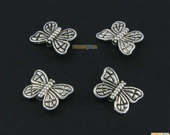 50Pcs Antique Silver Butterfly Bead Butterfly Charm Butterfly Bracelet Bead Butterfly Pendant 15x11mm (PND1544)