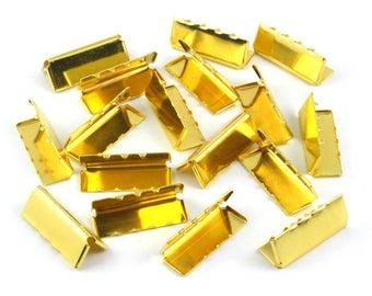 200 Pieces 26*10mm Gold Flat Ribbon Clamp End Crimp [1-1/32 inch]  (J-EC26)
