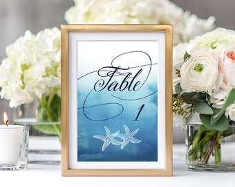 Table Numbers Wedding/Reception - Ocean Falls/Ombre Beach/Coastal (Style 13651)