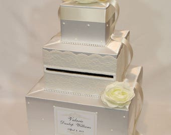 Ivory on White Wedding Card Box -Lace and Pearl accents-Ivory Flowers