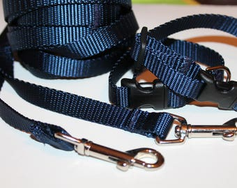 Small Dog collar and Leash Tiny Navy Dog Collar Navy Dog Collar and Leash Blue Dog Collar Extra Small Collar Navy Small Leash