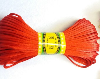 20M, 2mm red satin rattail cord trim string
