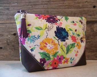"Cosmetic bag - Make up bag clutch in beautiful romantic flower fabric with "" faux "" leather corners and a vinyl lining ,  make up bag."