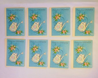 Vintage SHOWER INVITATIONS and Envelopes Laurel Cards U.S.A.  Lot of 8  Watering Can Floral Garden Party  Baby Bridal