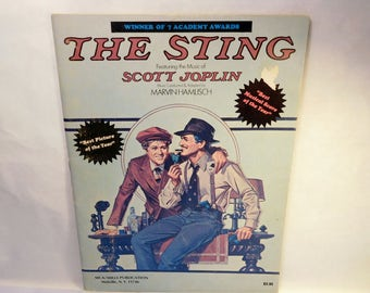 """Vintage The STING Sheet Music - Scott Joplin """"The Entertainer"""" - Robert Redford and Paul Newman Movie Tie-In Photos Pictures – 1970's (1974)"""