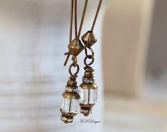 Dainty Swarovski Crystal Earrings, Earrings, Crystal Dangle Pierced or Clip-on Earrings, Boho Chic Earrings , CKDesigns.US