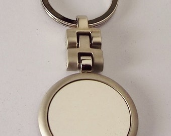 Personalized Custom Engraved Round Key Chain Silver Matte and High Polish - Hand Engraved