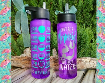 "Mermaid Water Bottle/Motivational/24oz/Water Tracker/Water Reminder/""Can't be a...""Glitter/Straw/Flip Lid/Handle/Mother's Gift/To go cup"