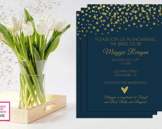 NAVY GOLD BRIDAL,  Navy and Gold Bridal Shower, Navy and Gold, Bridal Shower, Gold and Navy Shower