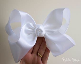 Large 8 inches Boutique Bow - White Satin Boutique bow - Baby to Adult Headband - Flower Girl Headband - GoldenBeam