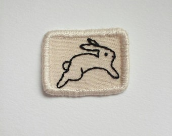 Tiny Bunny Patch Hand Embroidered Sew on Patch Rabbit