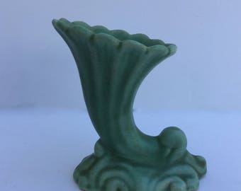 Vintage Green Cornucopia Pottery Vase Resting On Waves 4""