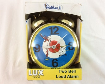 Vintage 1960 - 70's Robertshaw Lux Time Airplane Bell Alarm Clock. Propeller Turns.  Collectible HTF Mint Condition in Original Box.