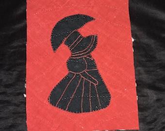 Antique Red Black Sunbonnet Parasol Victorian Woman Quilt Piece Cut Scrap Hand Stitched Block