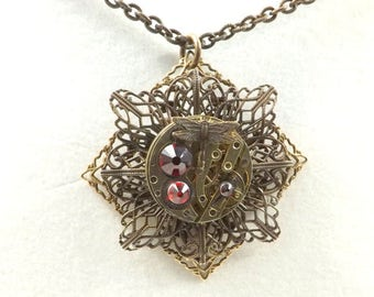 Steampunk Layered Filigree Pocket Watch Movement Necklace, Vintage, Swarovski, Siam, Red, Dragonfly, Sparrow