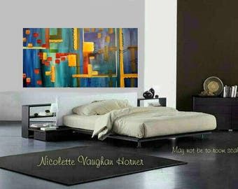 """XLarge Contemporary Modern Multi Colored  Abstract Original 48"""" palette knife impasto oil painting by Nicolette Vaughan Horner"""