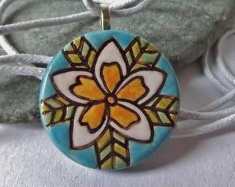 Ceramic Pottery Frangipani Flower Pendant, Tropical Flower Jewelry, Frangipani Jewelry, Summer Jewelry, Spring Jewelry, Nature Jewelry, Bali